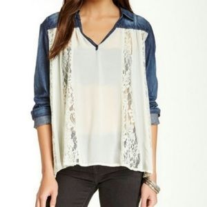 Free People Chambray and Lace Sheer Blouse | Sz S